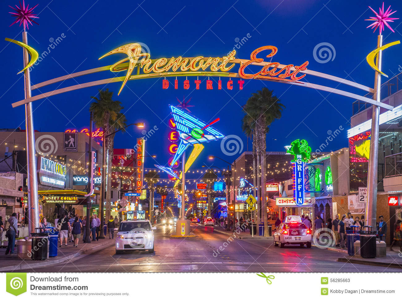 Fremont Street Experience Excitement In Las Vegas Editorial Stock.