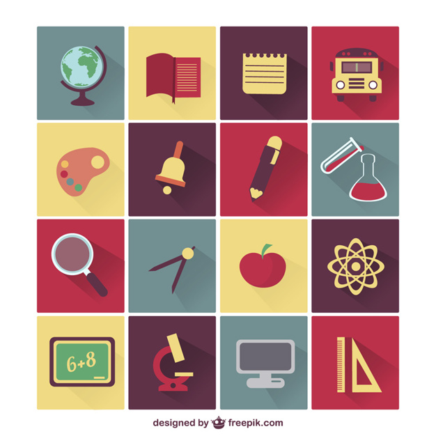 School elements and subjects icons set Vector.