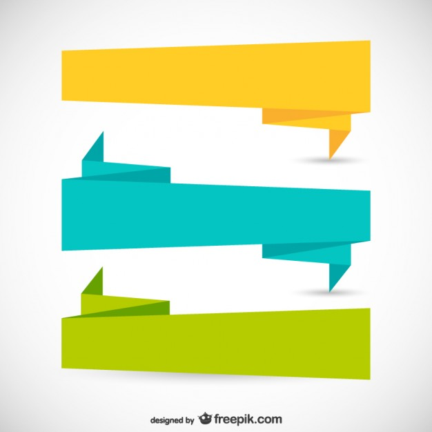 Origami ribbons in different colors Vector.