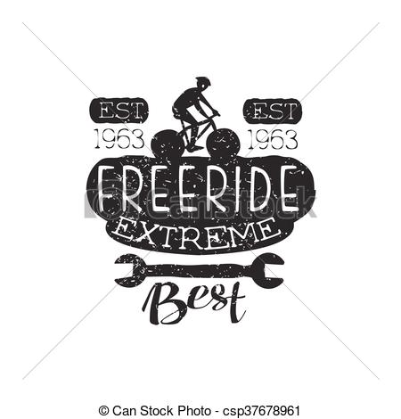 Clip Art Vector of Extreme Freeride Vintage Label With Wrench.