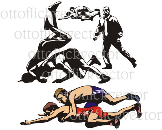 WRESTLING SILHOUETTES VECTOR clipart eps, ai, cdr, png, jpg.