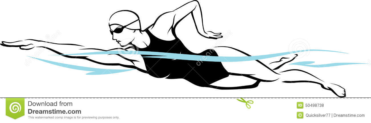 Swimming freestyle clipart girl.