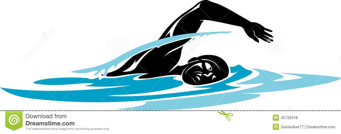 Swimming freestyle clipart.