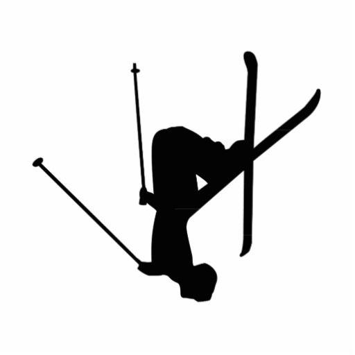 Ski Black Silhouette Cutout.