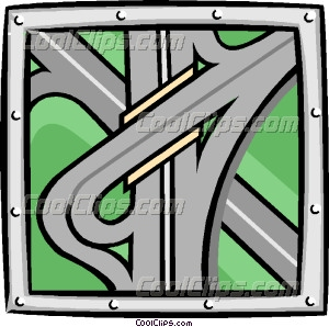 freeway roads Vector Clip art.