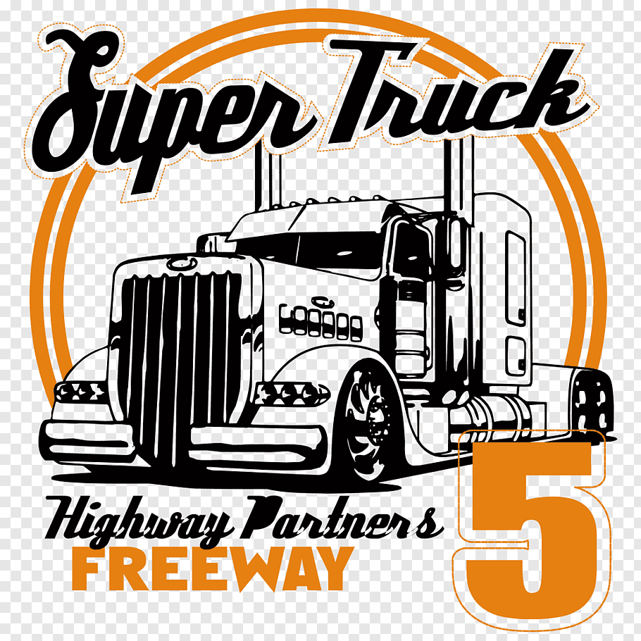 Super Truck Highway Partners Freeway 5 logo, Printed T.