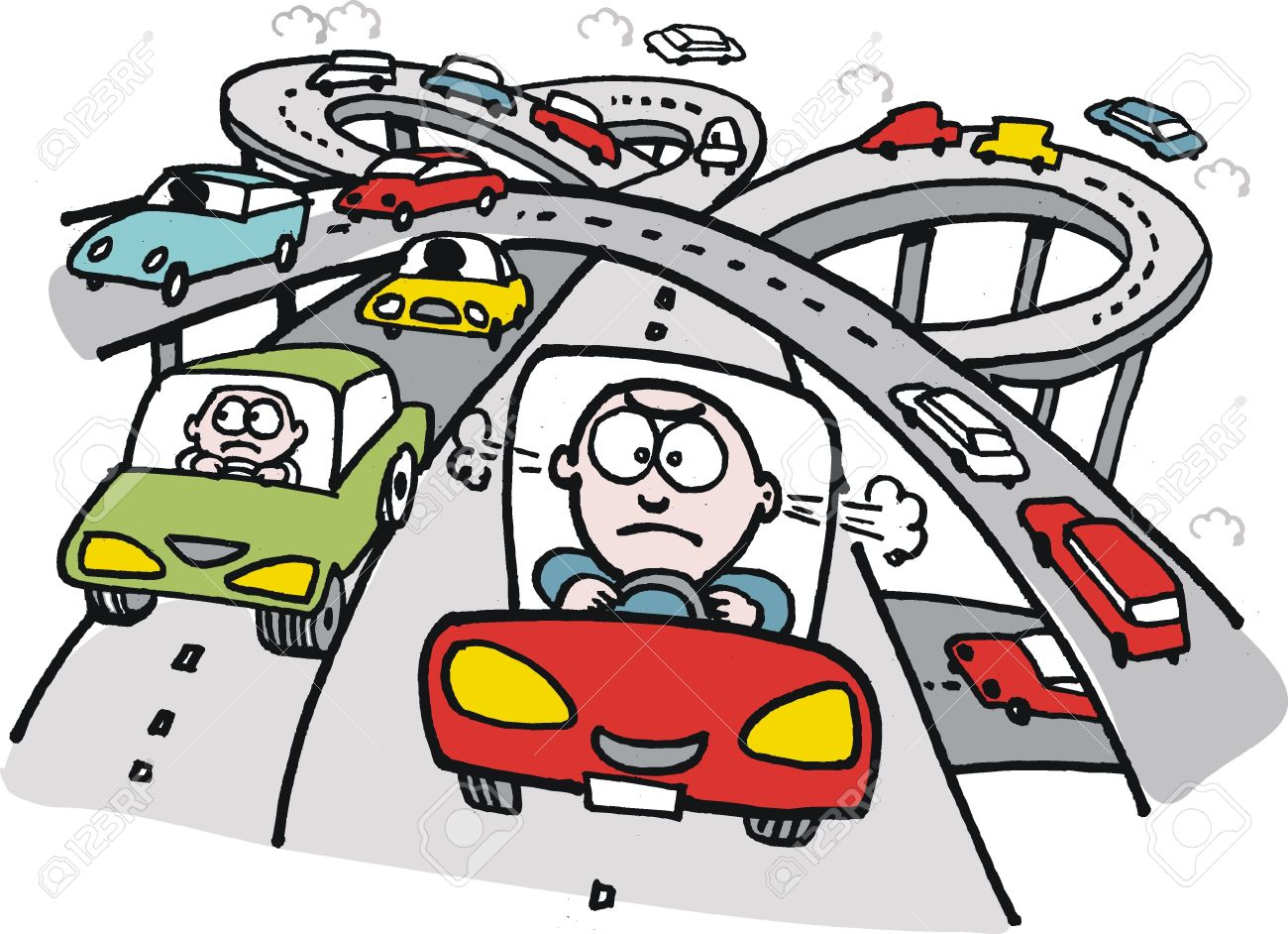 Cartoon Of Frustrated Motorist On Freeway Royalty Free Cliparts.