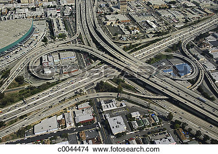 Stock Photo of Aerial View of Los Angeles, California Freeways.