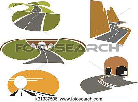 Clip Art of Speed roads, freeways, underpass and highways.