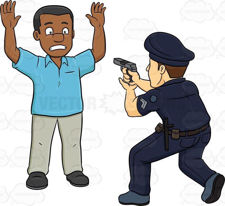 A Policeman Telling A Black Man To Freeze.