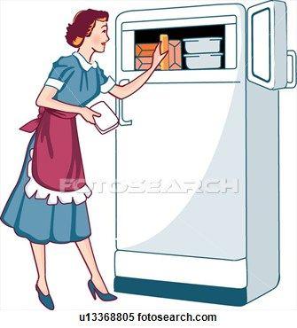 vintage Refrigerator Clip Art.