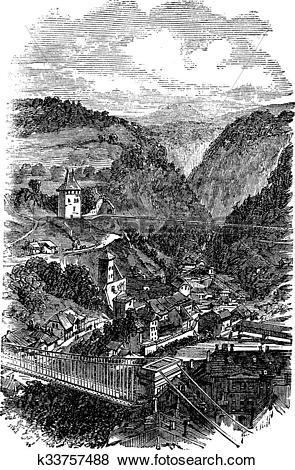 Clip Art of Fribourg or Freiburg im Uechtland in Switzerland.