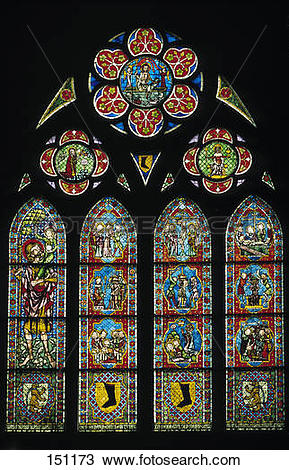 Stock Photo of Glass paintings on widow of church, Freiburger.