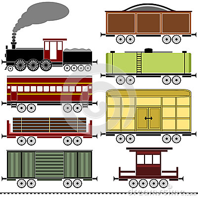 Vintage Freight Train Illustration Isolated Stock Illustration.