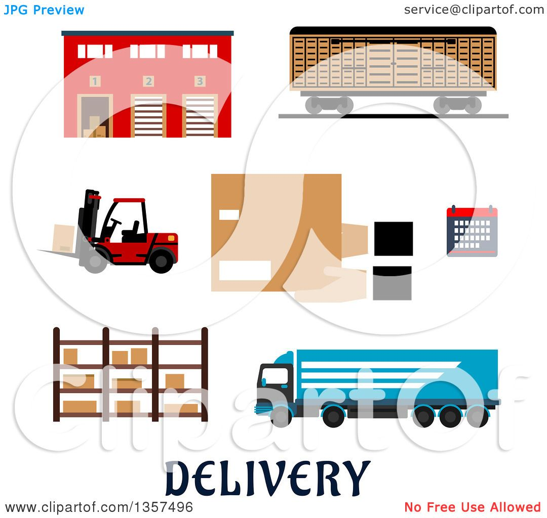 Clipart of a Flat Design Warehouse Building, Freight Wagon, Cargo.