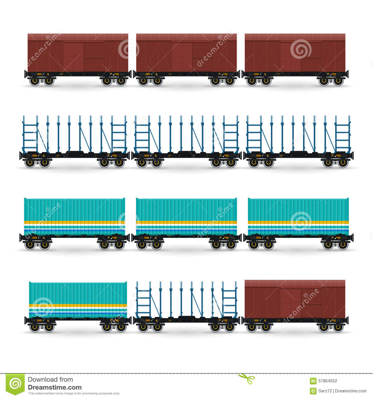 Set Of Different Types Of Freight Wagon Stock Vector.