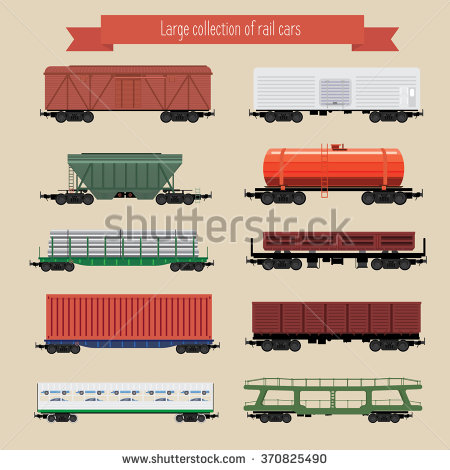 Freight train car types side view clipart.