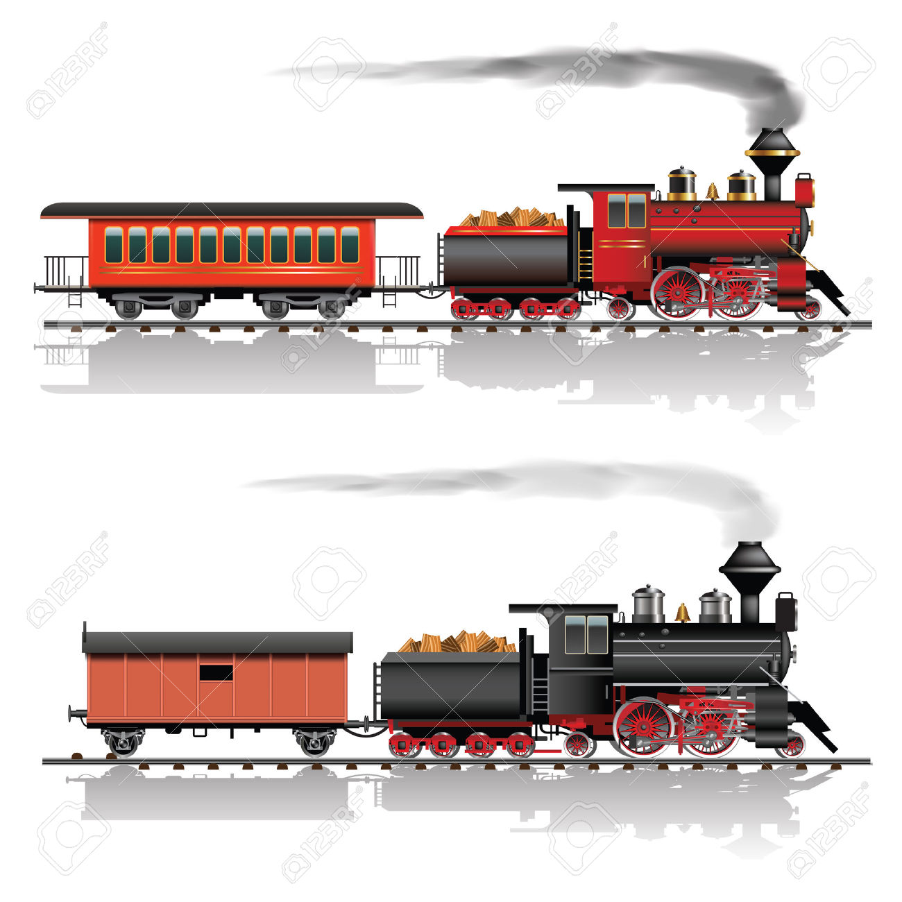 Old American Steam Locomotive. Passenger And Freight Wagon. Vector.