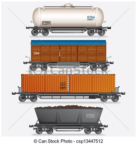Clipart of Collection of Train Cargo Wagons, Tanks, Cars.