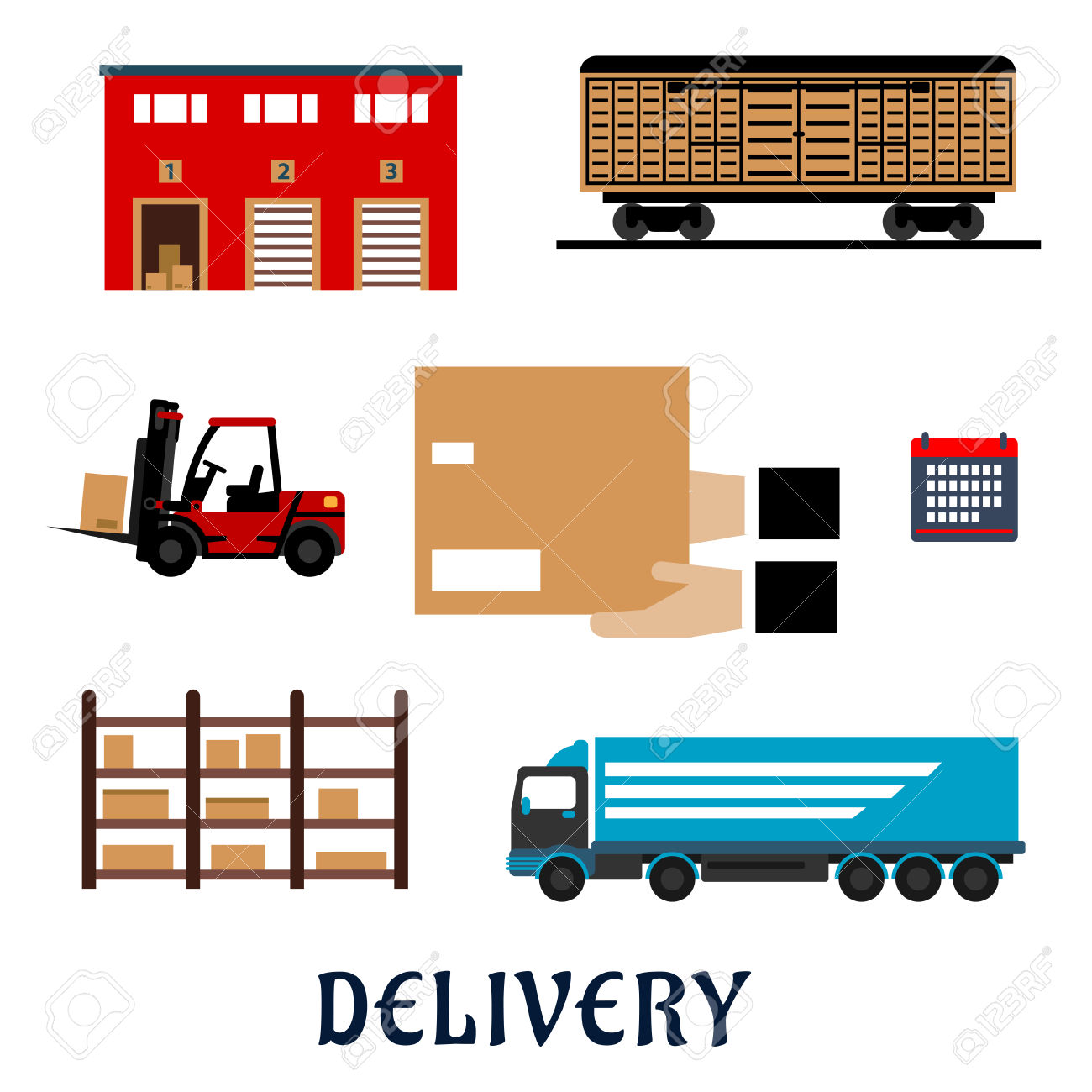 Delivery Service Flat Icons With Warehouse Building, Freight.