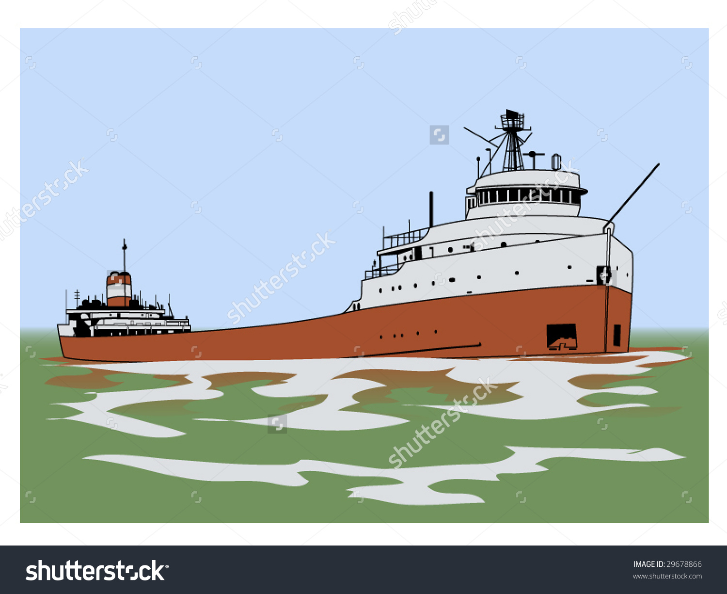 Vector Illustration Of A Lake Freighter.