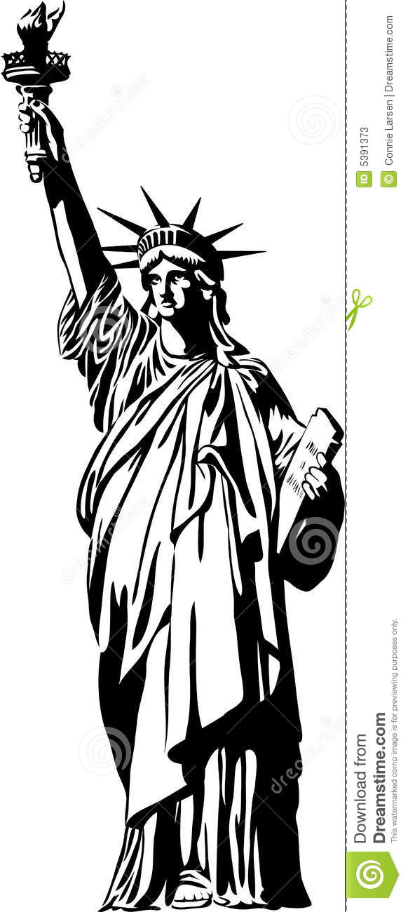 Statue Of Liberty Black And White Clipart.