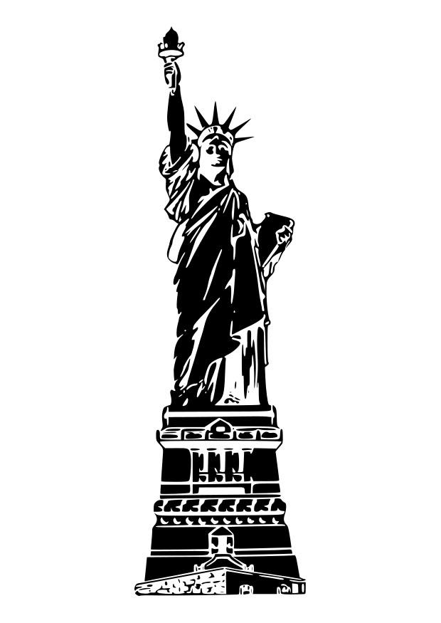 Coloring page statue of liberty USA.