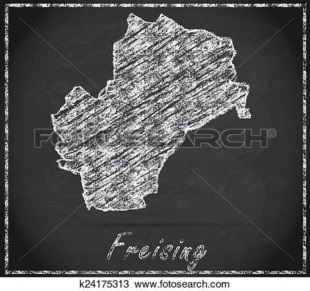 Drawing of Map of Freising k24175313.
