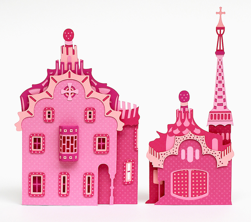 zim & zou crafts barcelona's architectural landmarks from pink paper.