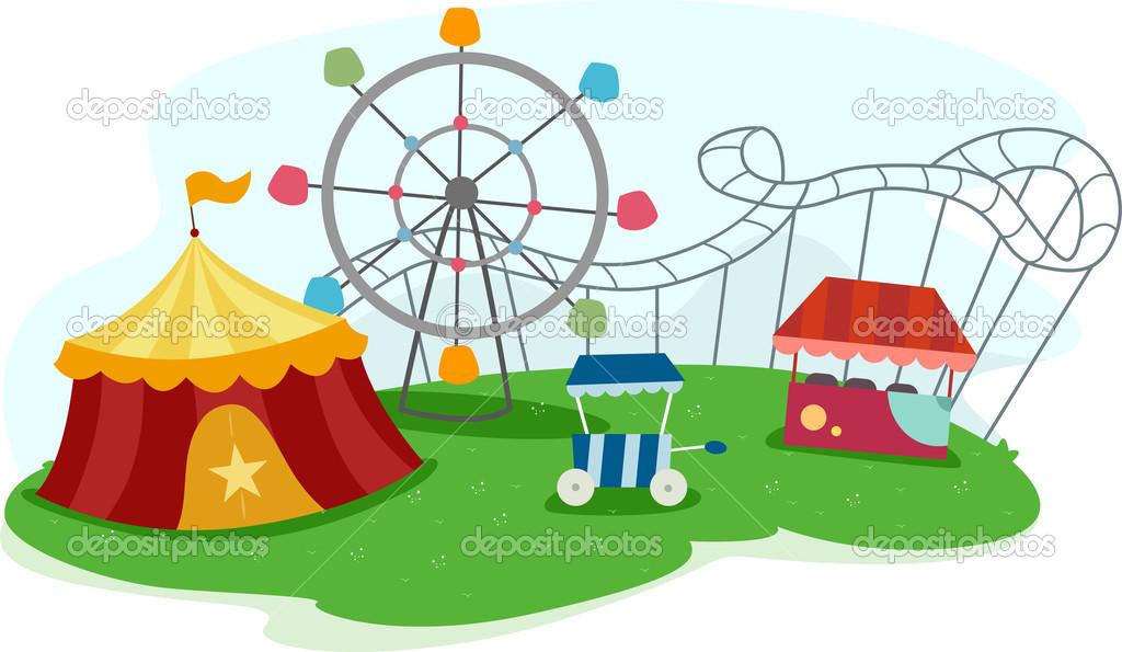 Freizeitpark mit Attraktionen — Stockfoto © lenmdp #16349155.