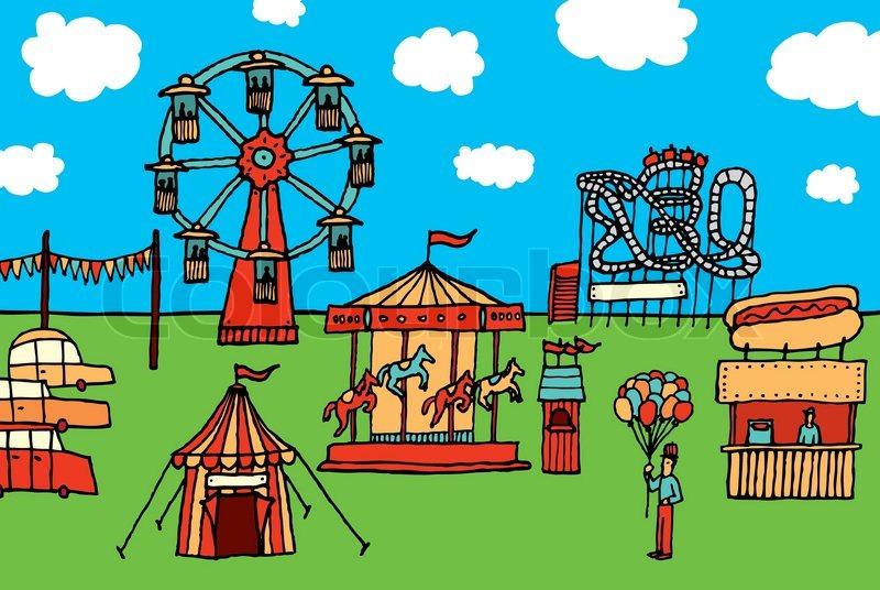 Cartoon Karneval / Freizeitpark.
