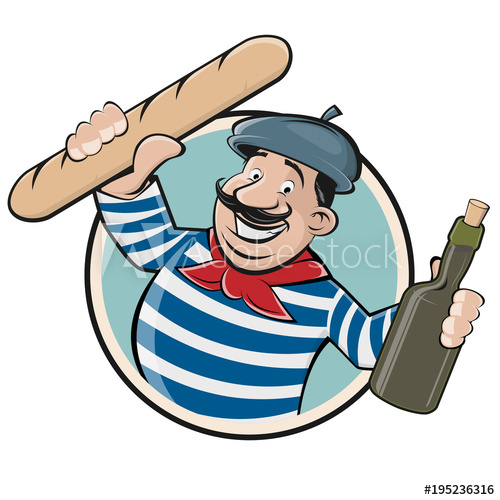 funny clipart of a french man with baguette and wine.