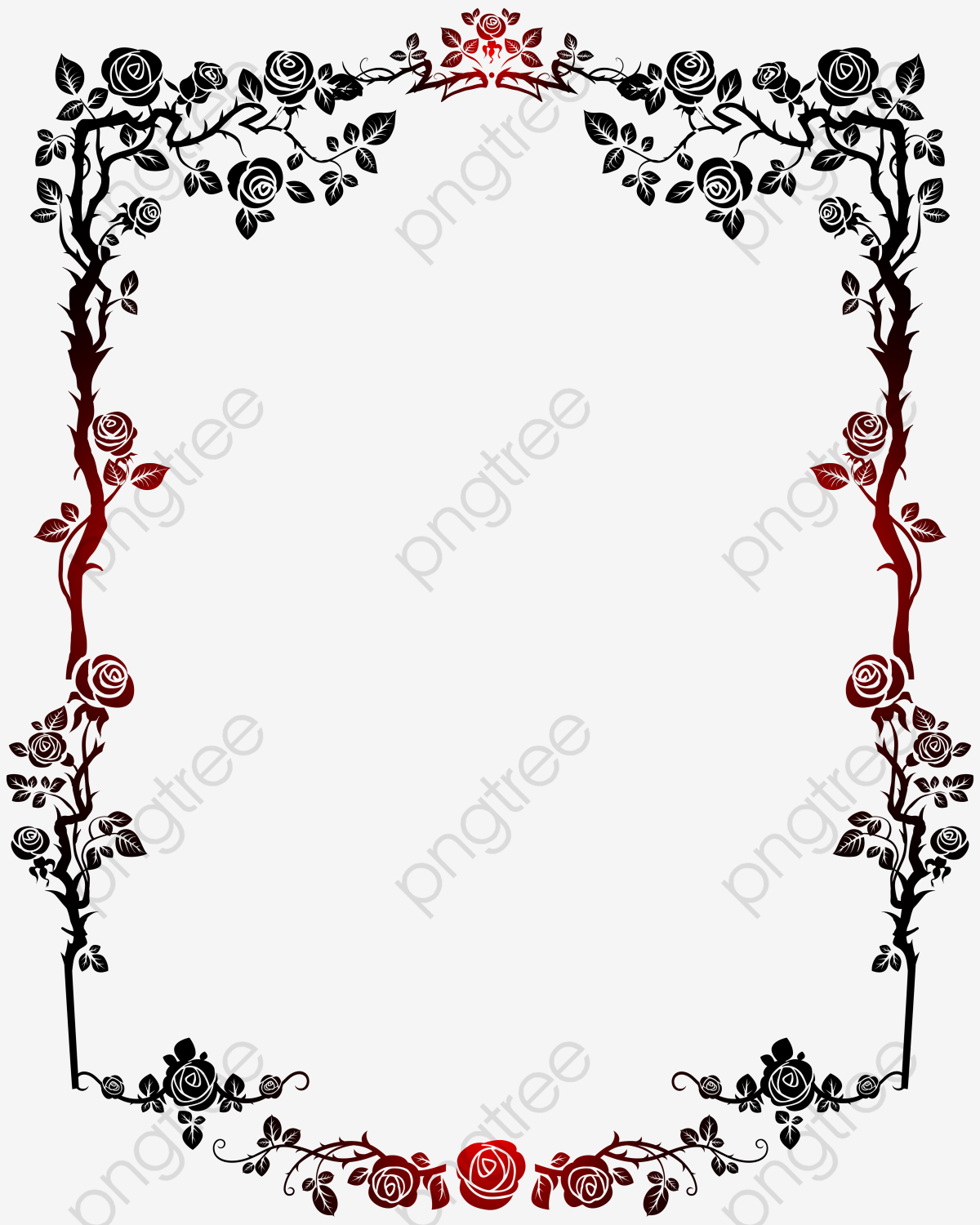 Red And Black Gradient Roses French Border, French Clipart, Red.