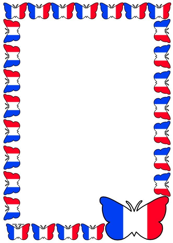 France Flag Themed Lined paper and Pageborders.