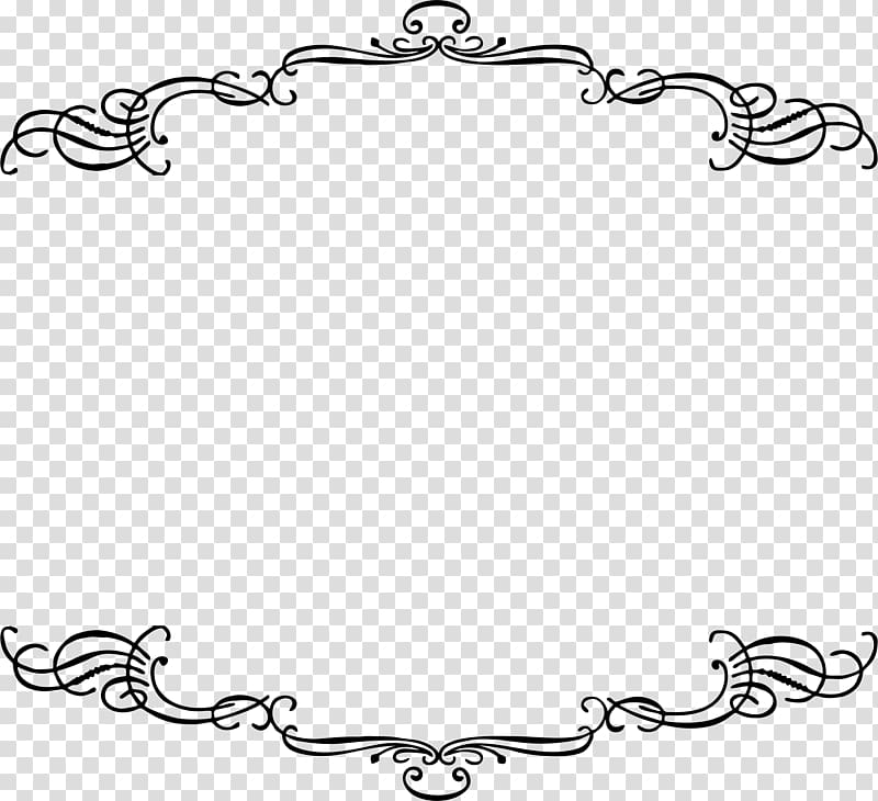 Black floral art, Line art Frames, french border transparent.