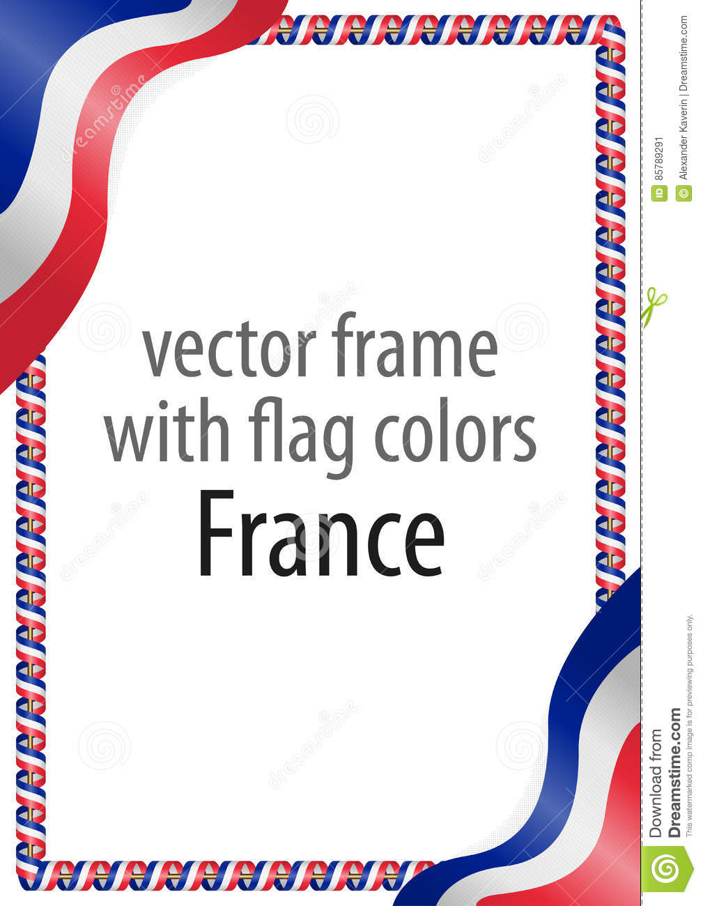 Frame And Border Of Ribbon With The Colors Of The France Flag Stock.