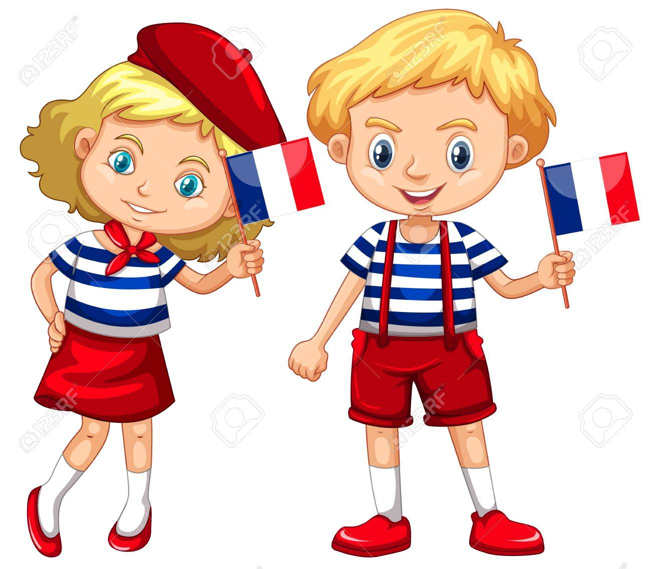 Boy and girl with flag of France illustration.
