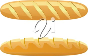 Clip Art Illustration of Loaves of French Bread.