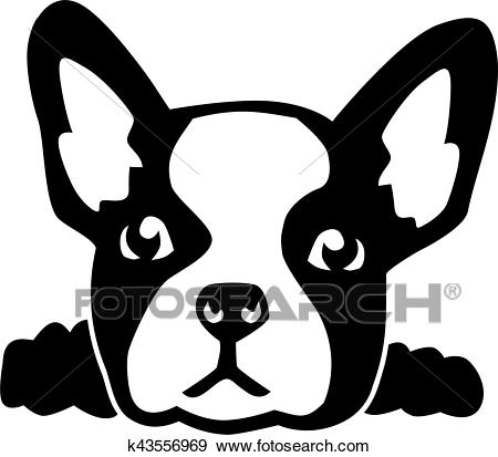 French bulldog head Clip Art.