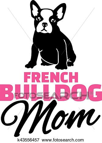 French bulldog Mom with dog silhouette Clip Art.