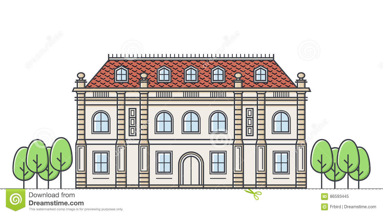 French Chateau Stock Illustrations.