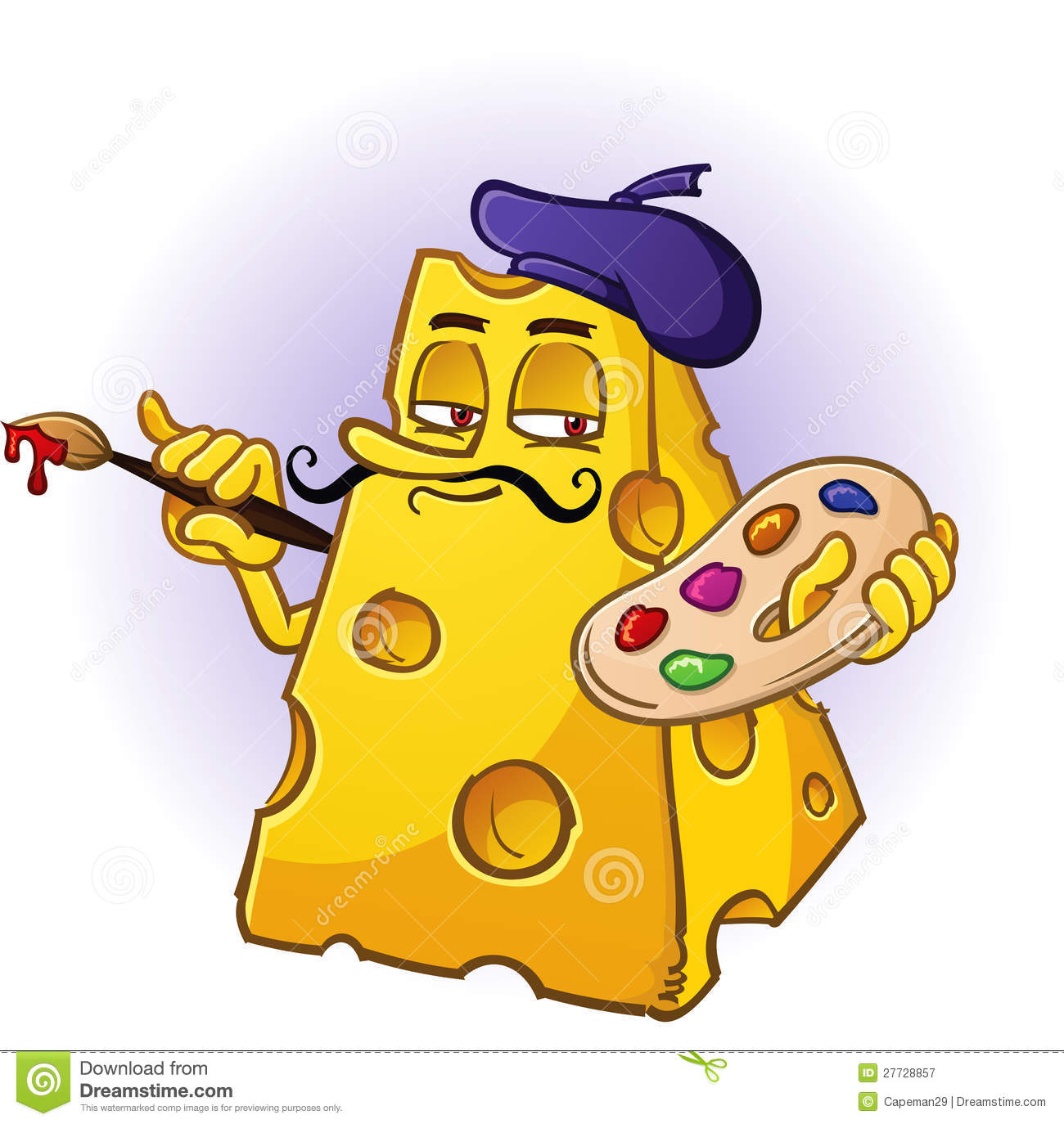 Artist Cheese Character Royalty Free Stock Photography.