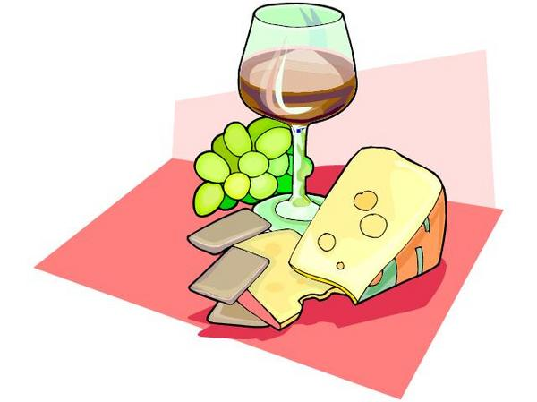 Free clipart table wine cheese.
