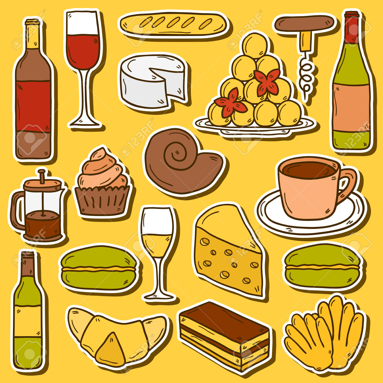 Set Of Cartoon Cute Hand Drawn Stickers On French Cuisine Theme.