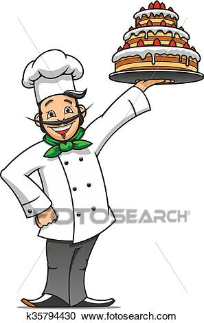 Cartoon french chef with chocolate cake Clipart.