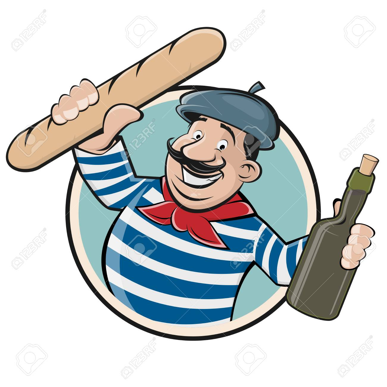 Funny clip art of a french man with baguette and wine..