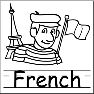 Clip Art: Basic Words: French B&W Labeled I abcteach.com.