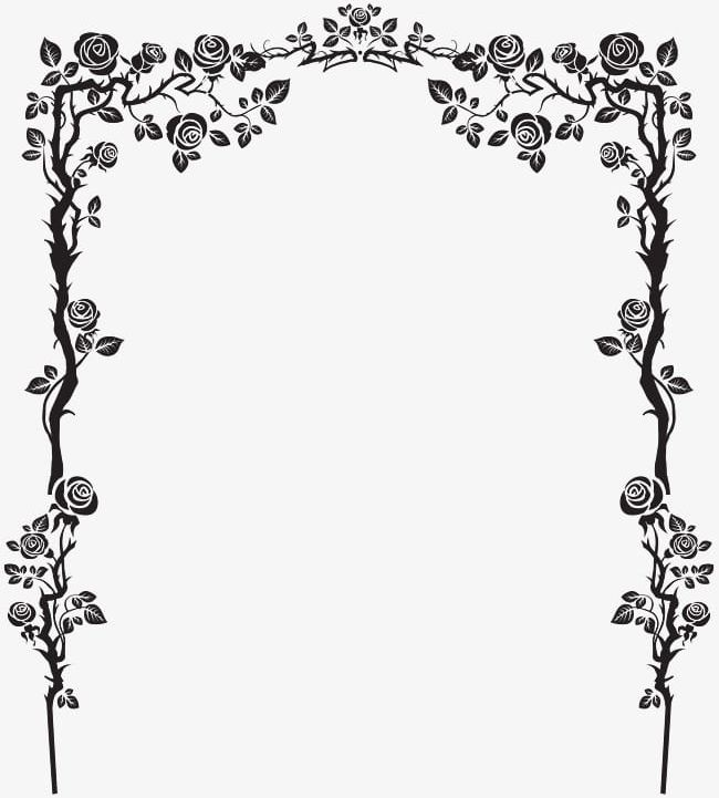 Black French Floral Border PNG, Clipart, Art, Art Pattern.