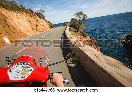 Stock Images of Motor scooter driver point of view, French Riviera.