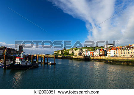 Stock Photography of French coast village Dieppe k12003051.